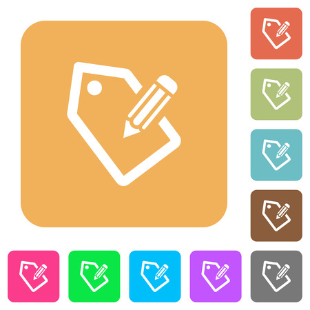 Tagging icons on rounded square vivid color backgrounds.