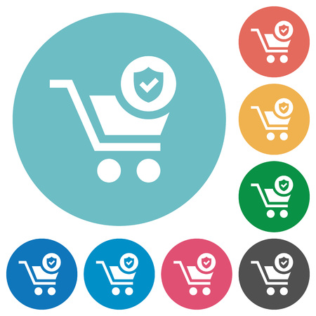 Secure shopping flat white icons on round color backgrounds