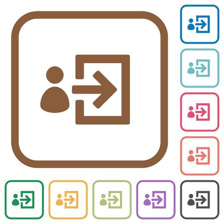 Icônes simples de connexion utilisateur en couleur carrés arrondis sur fond blanc Vecteurs