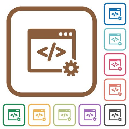 Web development simple icons in color rounded square frames on white background Illustration