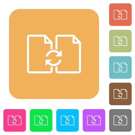 Swap documents icons on rounded square vivid color backgrounds.
