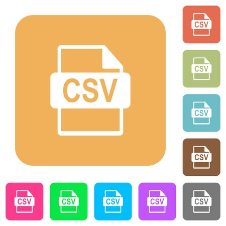 csv: CSV file format icons on rounded square vivid color backgrounds.
