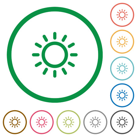 luminary: Brightness control flat color icons in round outlines on white background Illustration