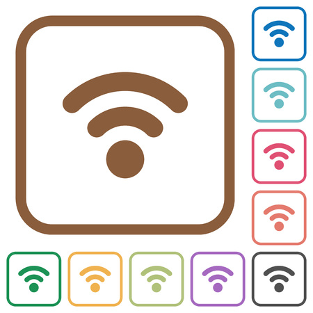 attenuation: Radio signal simple icons in color rounded square frames on white background Illustration