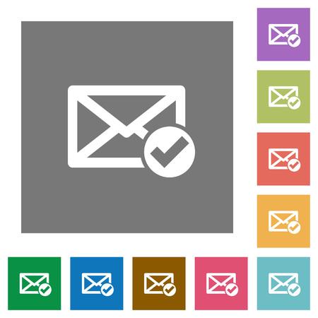 Mail leest vlakke pictogrammen op eenvoudige kleur vierkante achtergronden