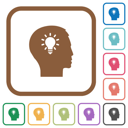 lumen: Idea simple icons in color rounded square frames on white background Illustration