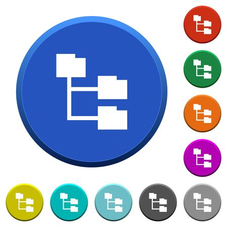 Folder structure round color beveled buttons with smooth surfaces and flat white icons
