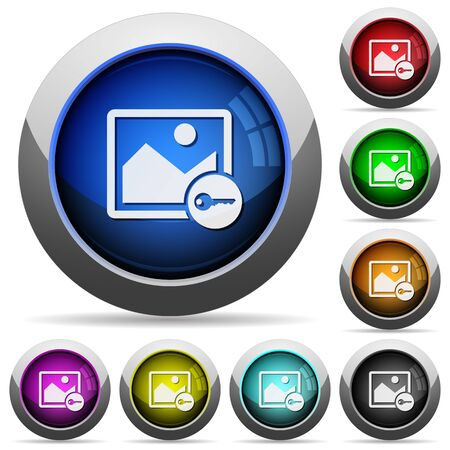 encrypt: Encrypt image icons in round glossy buttons with steel frames Illustration