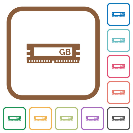 kilobyte: RAM module simple icons in color rounded square frames on white background