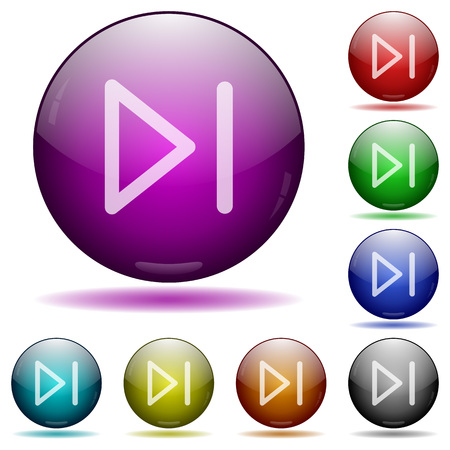Media next icons in color glass sphere buttons with shadows