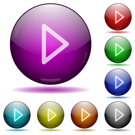 tracklist: Media play icons in color glass sphere buttons with shadows Illustration