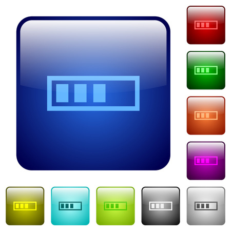 executing: Progressbar icons in rounded square color glossy button set Illustration
