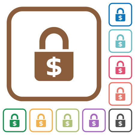 inaccessible: Locked Dollars simple icons in color rounded square frames on white background