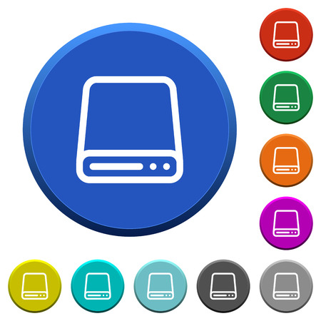 Hard disk drive round color beveled buttons with smooth surfaces and flat white icons Illustration