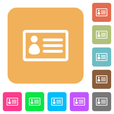 datasheet: ID card icons on rounded square vivid color backgrounds.