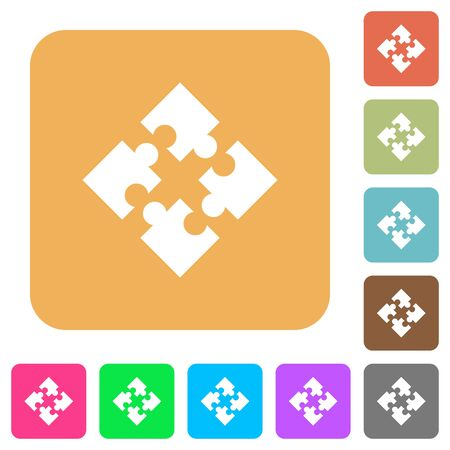 Modules icons on rounded square vivid color backgrounds.