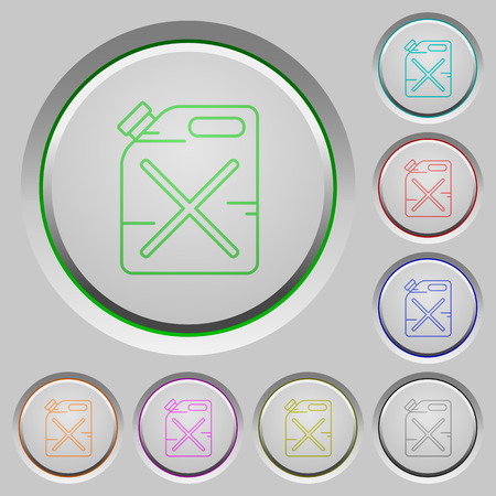 gas can: Gas can color icons on sunk push buttons