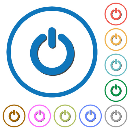 poweron: Power switch flat color vector icons with shadows in round outlines on white background