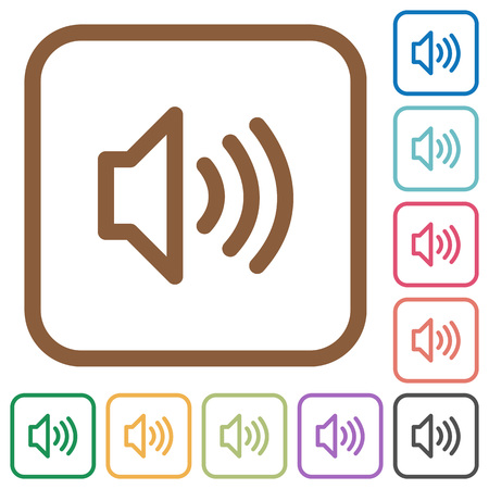 loudness: Volume simple icons in color rounded square frames on white background Illustration