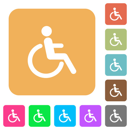 Disability icons on rounded square vivid color backgrounds. Illustration