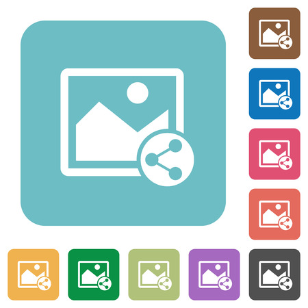photo icon: Share image white flat icons on color rounded square backgrounds