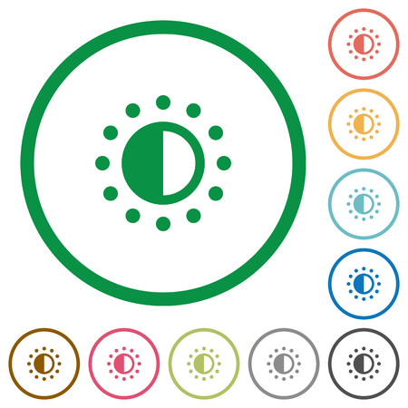 piebald: Saturation control flat color icons in round outlines on white background