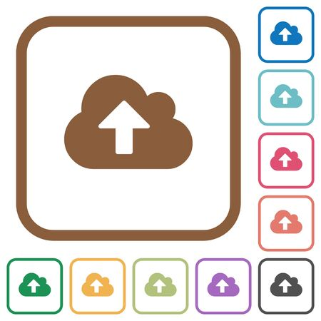 Cloud Upload Simple Icons In Color Rounded Square Frames On White ...
