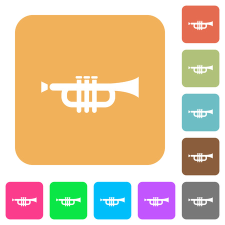 at tact: Trumpet icons on rounded square vivid color backgrounds. Illustration