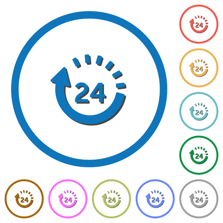 24 hour delivery flat color vector icons with shadows in round outlines on white background