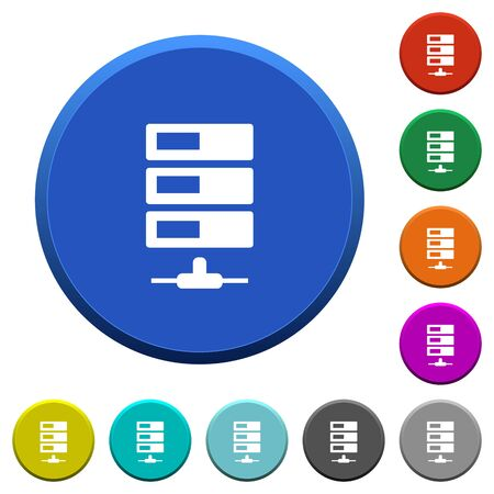 beveled: Data network round color beveled buttons with smooth surfaces and flat white icons