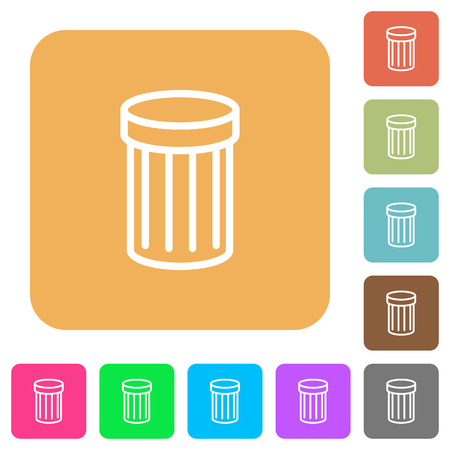 unnecessary: Trash icons on rounded square vivid color backgrounds. Illustration