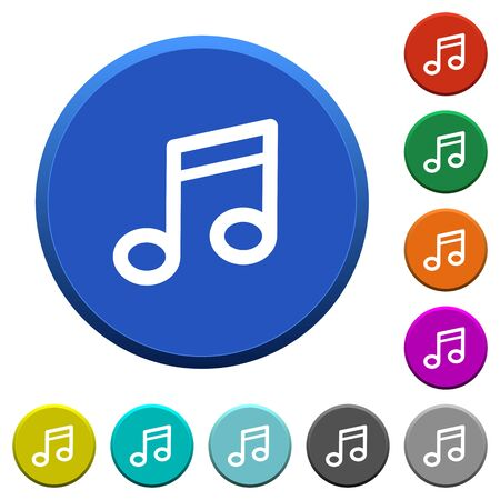 tact: Music note round color beveled buttons with smooth surfaces and flat white icons