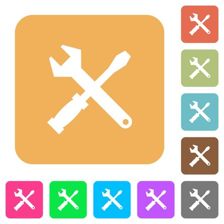 tool kit: Tool kit icons on rounded square vivid color backgrounds. Illustration