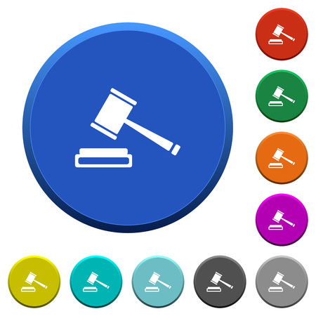prosecute: Auction hammer round color beveled buttons with smooth surfaces and flat white icons