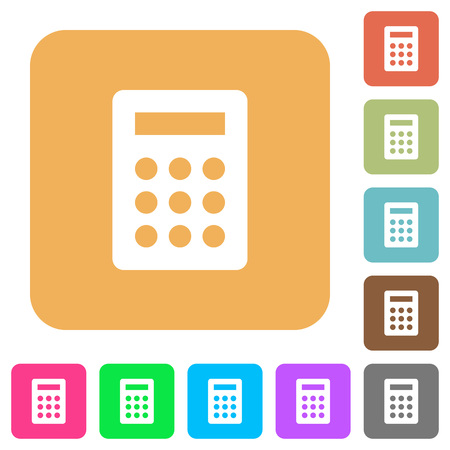 calc: Calculator icons on rounded square vivid color backgrounds.