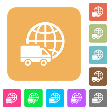 International transport icons on rounded square vivid color backgrounds.