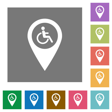 routing: Disability accessibility GPS map location flat icons on simple color square backgrounds