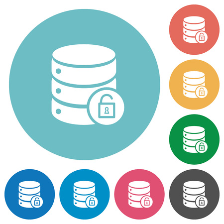 unprotected: Unlock database table flat white icons on round color backgrounds