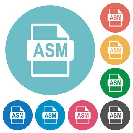 ASM file format flat white icons on round color backgrounds