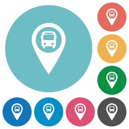 routing: Public transport GPS map location flat white icons on round color backgrounds