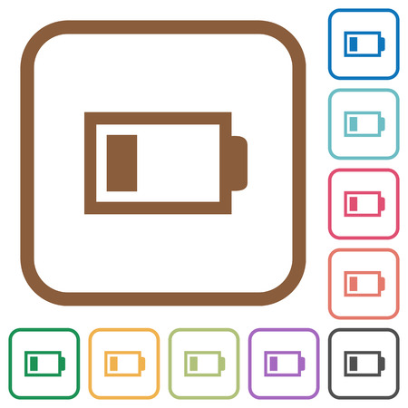 Low battery with one load unit. Simple icons in color rounded square frames on white background.