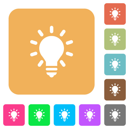 lumen: Lighting bulb as idea concept. Flat icons on rounded square vivid color backgrounds. Illustration