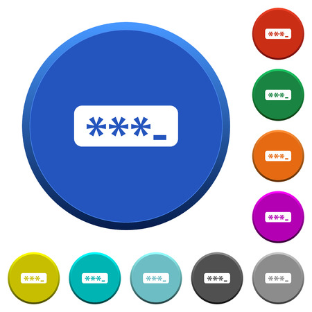 permissions: PIN code round color beveled buttons with smooth surfaces and flat white icons