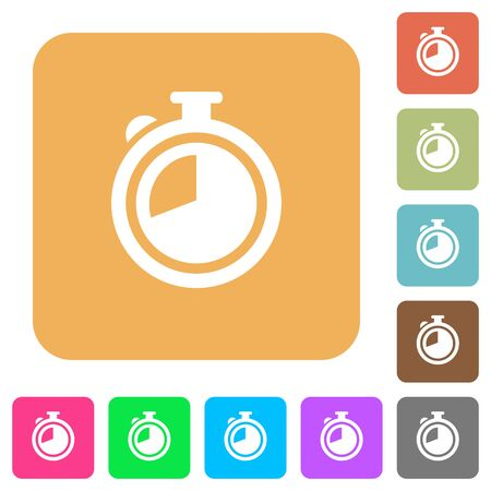 elapsed: Timer flat icons on rounded square vivid color backgrounds.