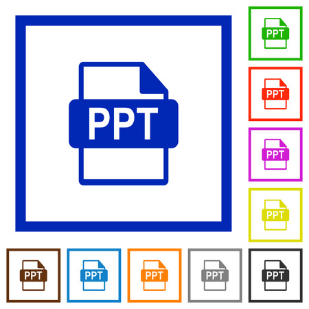 ppt: PPT file format flat color icons in square frames on white background
