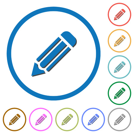 Pencil flat color vector icons with shadows in round outlines on white background