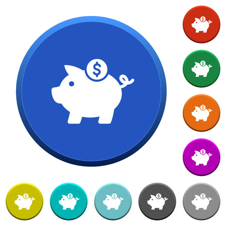 marge: Dollar piggy bank round color beveled buttons with smooth surfaces and flat white icons