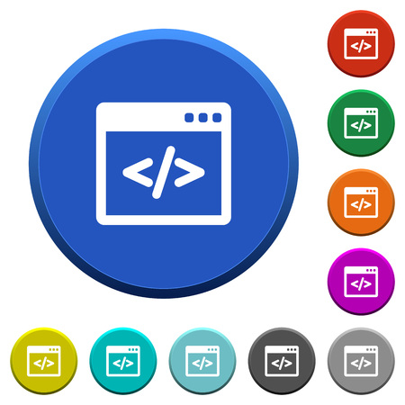 programming code: Programming code in software window. Round color beveled buttons with smooth surfaces and flat white icons