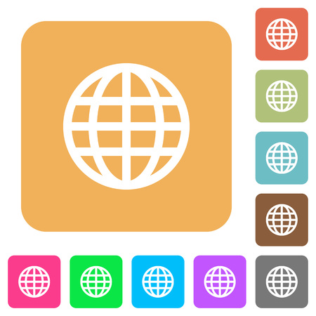 routing: Globe flat icons on rounded square vivid color backgrounds. Illustration