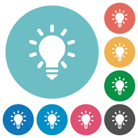 lumen: Lighting bulb as idea concept flat white icons on round color backgrounds Illustration